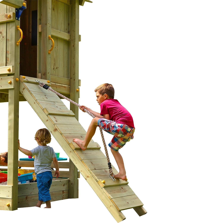 Blue Rabbit 2.0 Anbaumodul Rampe mit Seil @RAMP Spielturm Erweiterung Kletterwand Kletterrampe mit Kletterseil
