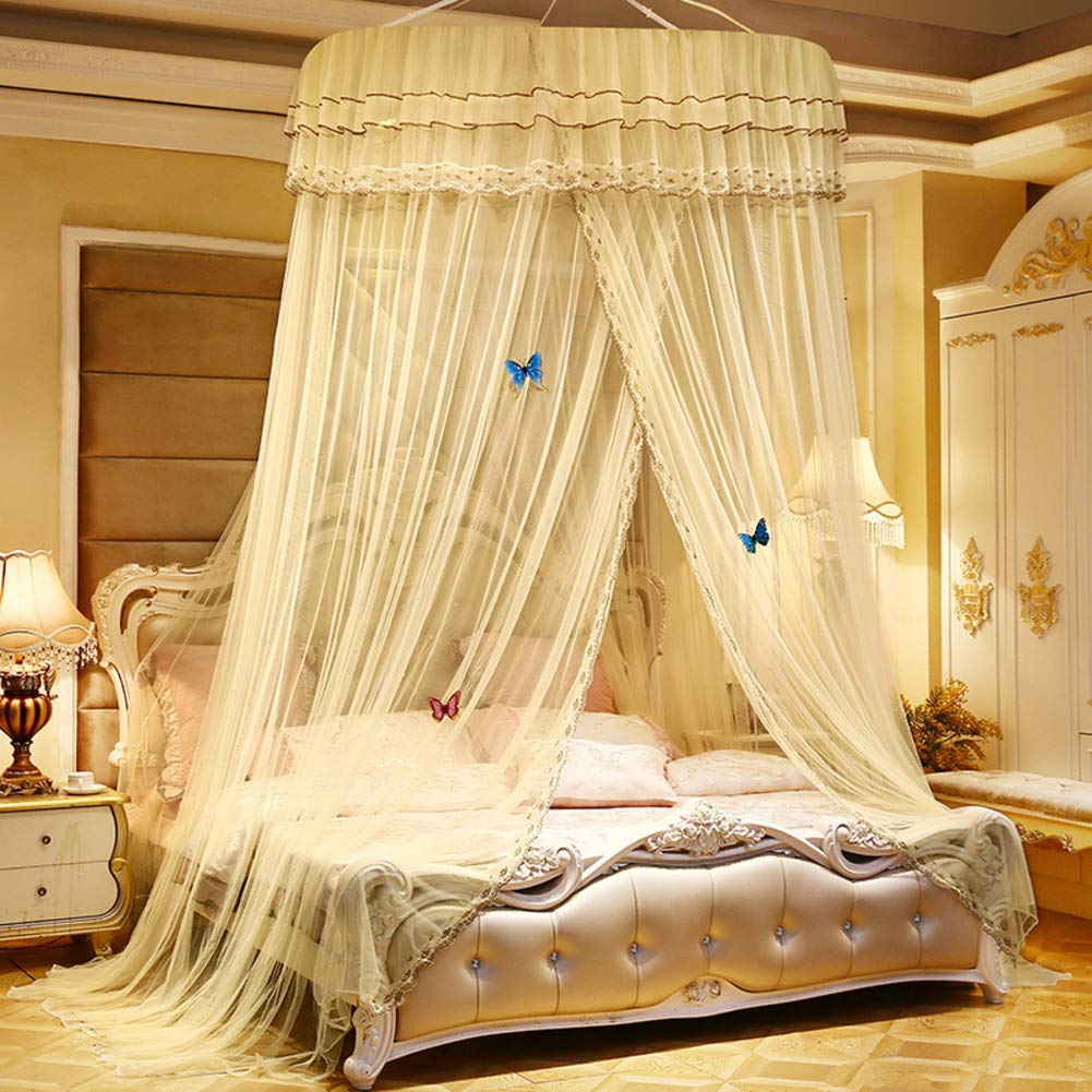 YZW Lace Dome Netting Bedding,Bed Canopy Curtain Netting for for Kids Indoor Playing Reading Games House-g X-Long Twin