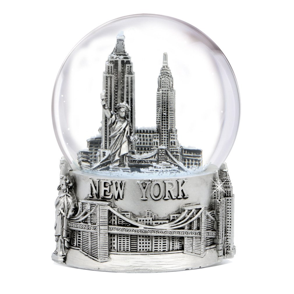 Silver New York City Snow Globe 4.5 Inch Tall, NYC Snow Globes Collection (80mm Glass Globe)