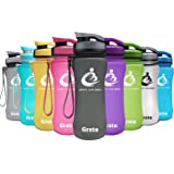 Grsta Sport Water Bottle 20oz/1L, Wide Mouth Leak Proof BPA Free Eco-Friendly Plastic Drink Beverage Best Water Bottles for Travel/Outdoor/Hiking/Camping/Gym w Flip Top Lid & Filter Opens with 1-Click