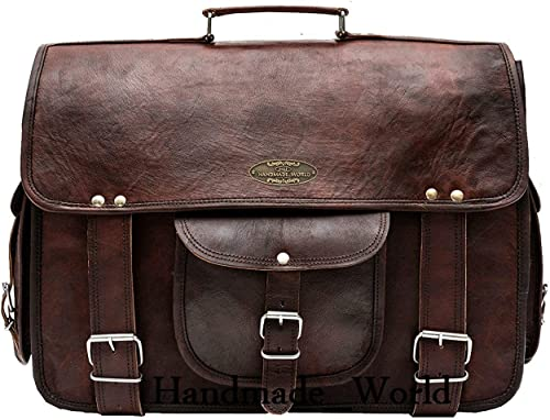 Handmade World leather messenger bag