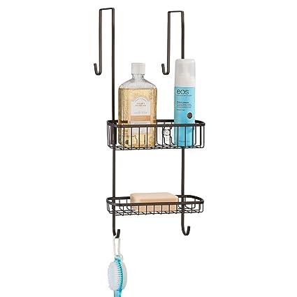 mDesign Estantería de ducha para colgar sobre la mampara – Práctico  colgador para ducha de metal 90f23f65847d