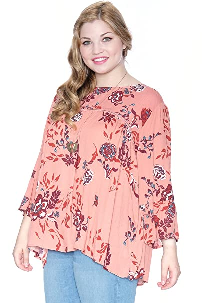 b8aa0046df9f1e Plus Size Floral Bell Sleeve Peasant Top Pink 1X at Amazon Women's Clothing  store: