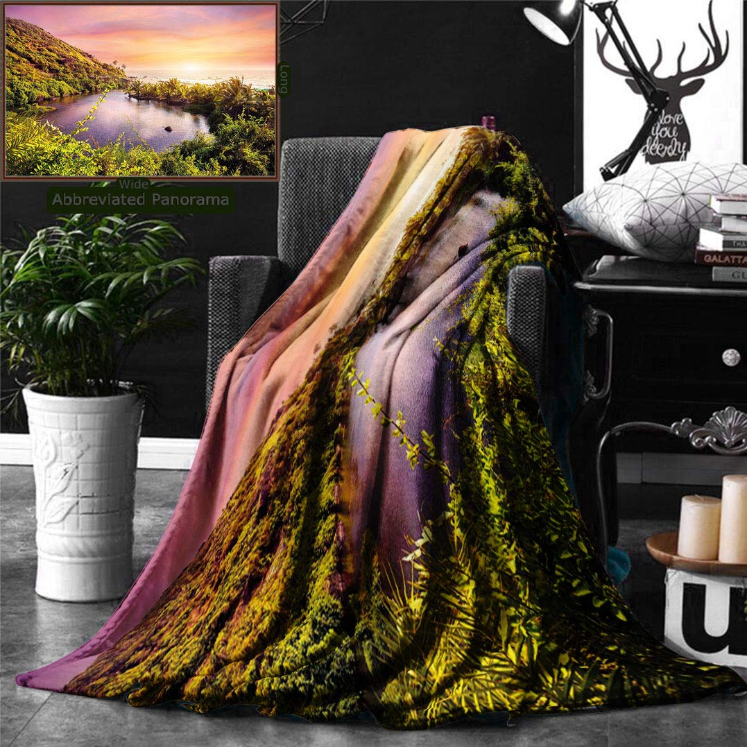 Ralahome Unique Custom Double Sides Print Flannel Blankets Landscape Tropical India Goa Arambol Beach Sweet Lake Forest Trees Scenery Ar Super Soft Blanketry Bed Couch, Throw Blanket 60 x 40 Inches