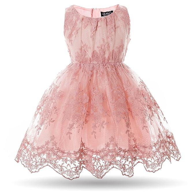 Amazon.com: Cielarko Girls Dress Kids Flower Tulle Lace Wedding ...