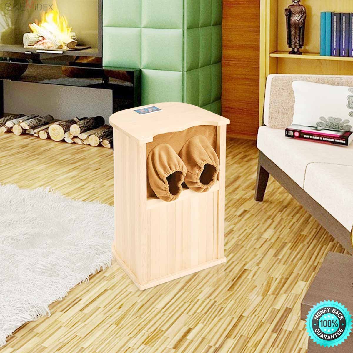 SKEMiDEX---Infrared Wooden Foot Sauna Dry Bath Health Spa & Therapy w/ Carbon Fiber Heaters Instead of traditional sauna methods, this infrared foot sauna uses the power of tourmaline stones