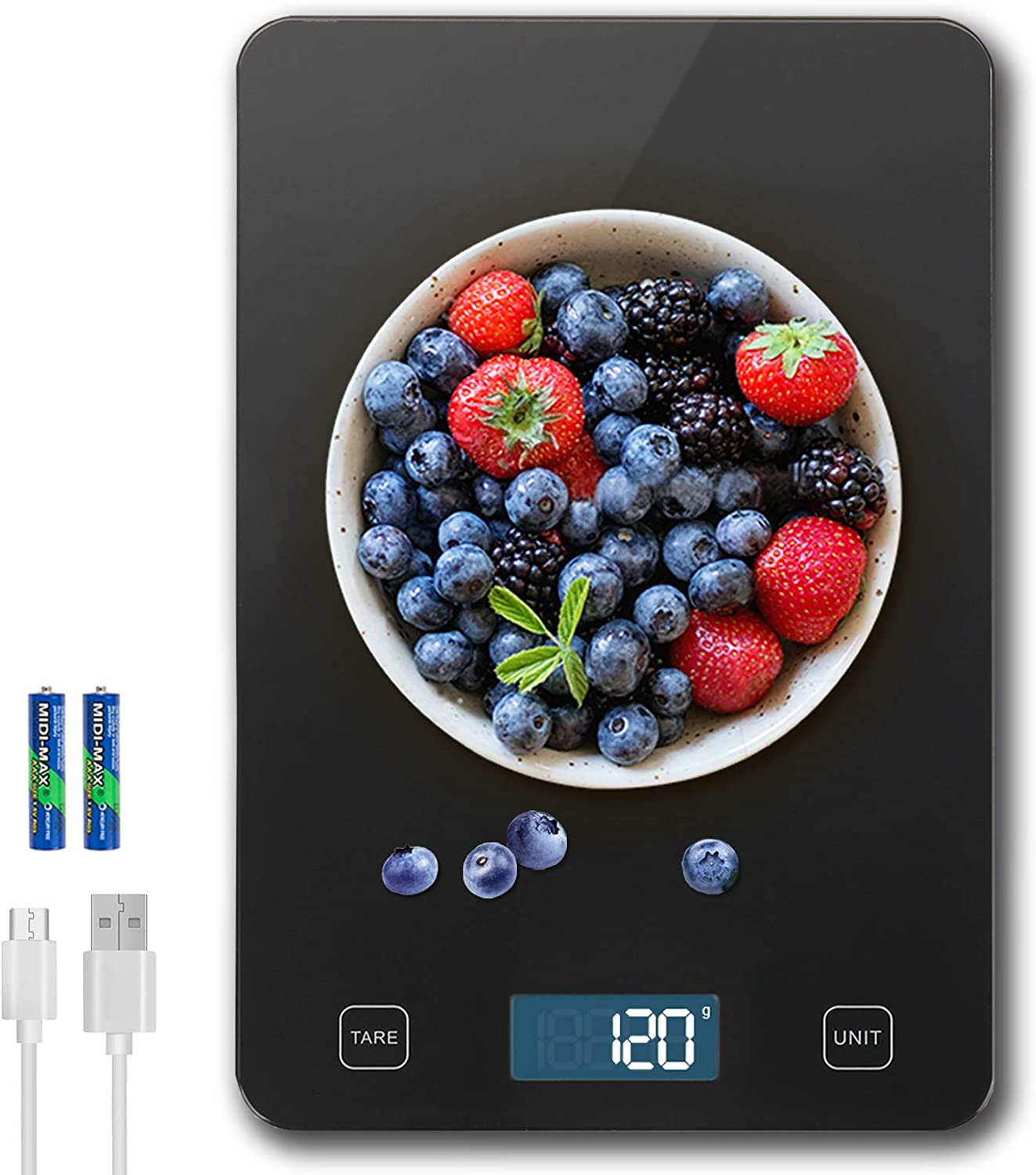 Amiloe Rechargeable Food Scale Digital Weight Grams and oz, 33lb Kitchen Scale for Cooking Baking, Waterproof Sleek Tempered Glass Platform, High Precision to 1g/0.1oz, 6 Units, 2AAA Batteries Include