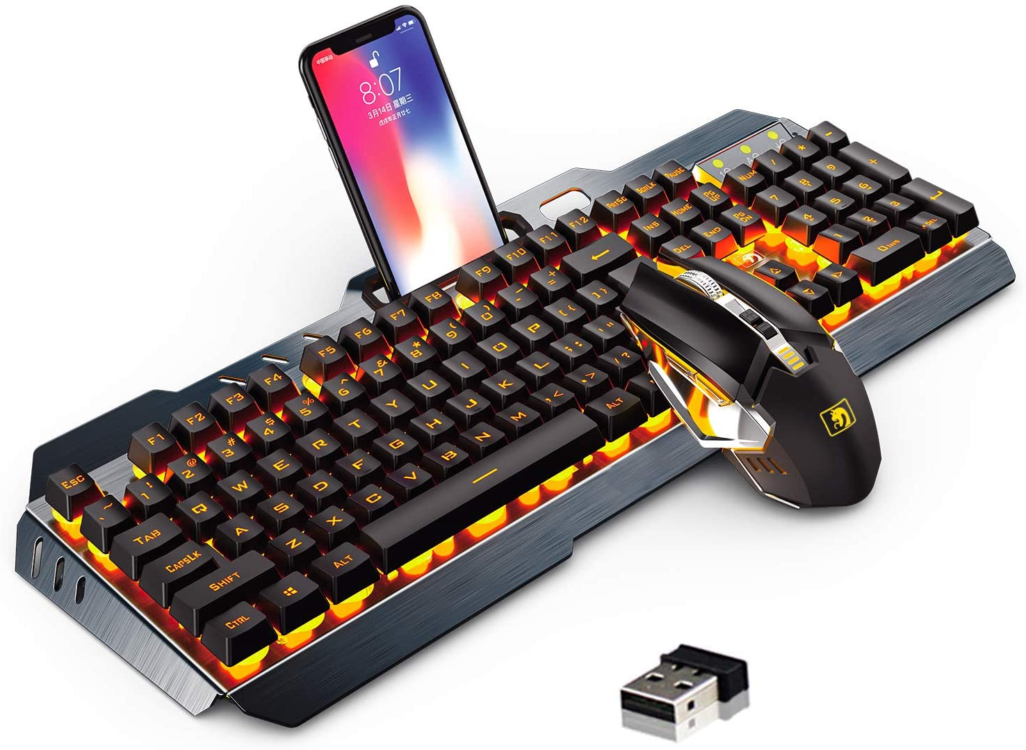 132 Key Waterproof Mechanical Keyboard Aluminum Alloy Case 18 Kinds of Lights with Hand Support Bracket Dual USB Interface QOUP Game Wired Keyboard