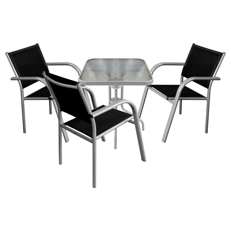 4tlg balkonm bel gartenm bel bistro set sitzgruppe glastisch 60x60cm metallgestell. Black Bedroom Furniture Sets. Home Design Ideas