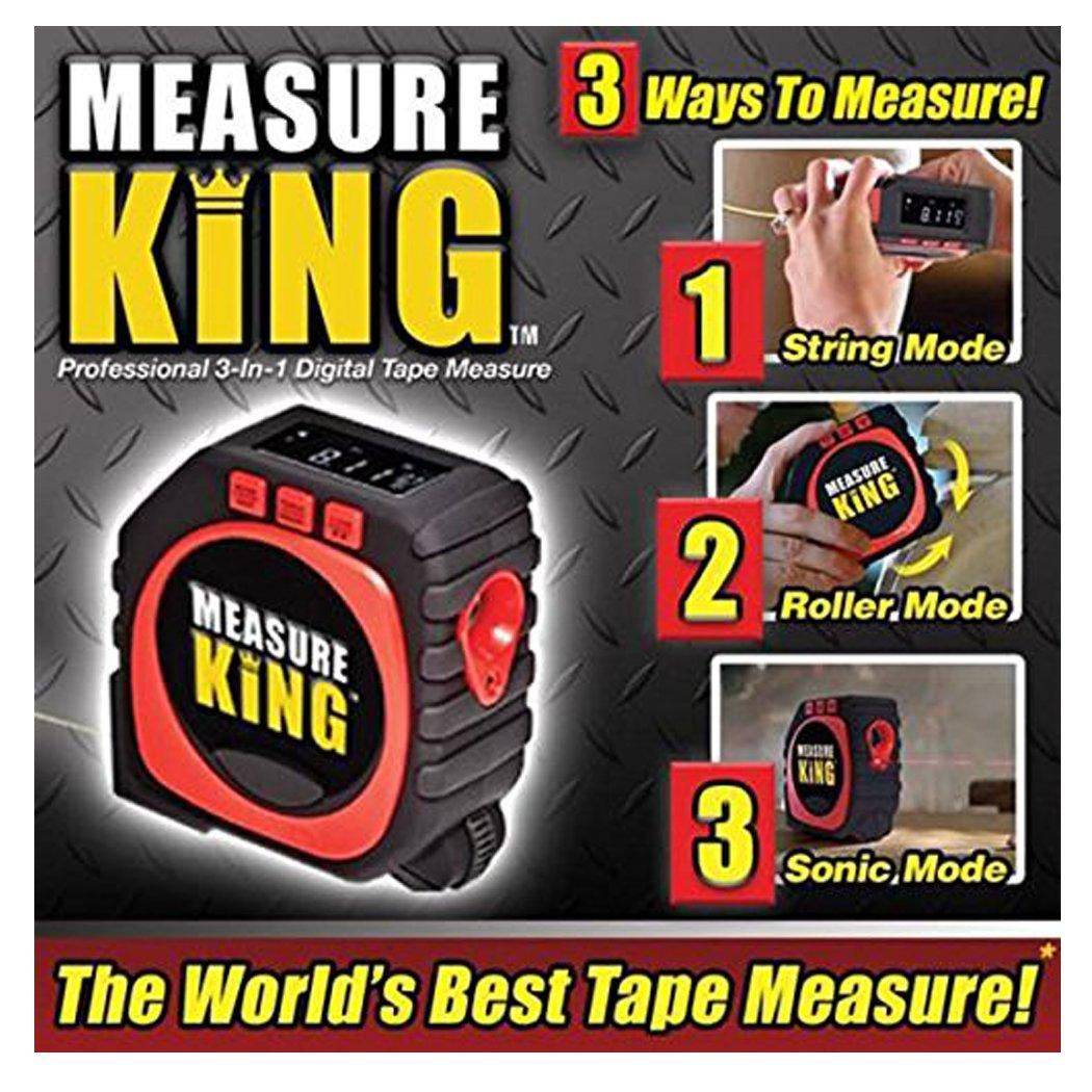 Flessometro black digitale Measure King 3-in-1 Misure per metro a nastro digitale, modalità Sonic e modalità Roller Come visto in Tv(MK-MC12 / 4)Metro a Nastro Tylon con Clip di Aggancio,3-in-1 measuring king,3 different measurement modes: roll mode, cord