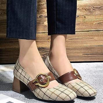 5aa5fea5 CXY Zapatos Sueltos de Primavera, Zapatos Mary Jane Bajos con Tacones Altos,  Zapatos Abuelita con Hebilla de Palabra de Mujer,Pulir,37: Amazon.es:  Deportes ...