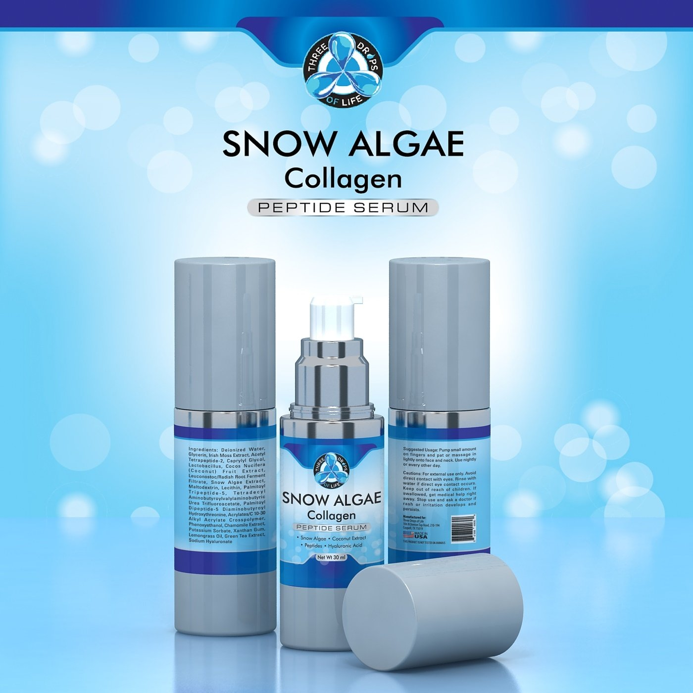 Amazon.com: Hydrating Snow Algae Collagen Peptide Serum, Best Cosmetic Face  Moisturizer for Anti-Aging | Support Wrinkle Treatment, Clinical Strength  Facial ...
