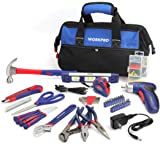 WORKPRO 125-Piece Household Tool Kit – 3.6V Rechargeable Screwdriver & Home Repair Basic Tool Set With 13-Inch Easy Carrying Tools Bag