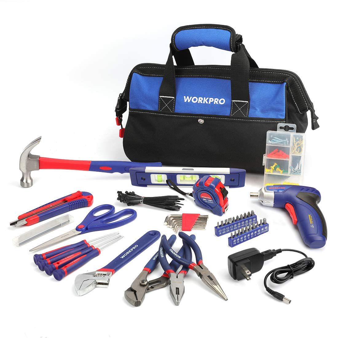 WORKPRO 125-piece Compact Tool Kit - Home Repairing Set with 3.6V Rechargeable Screwdriver and 13-Inch Tool Bag