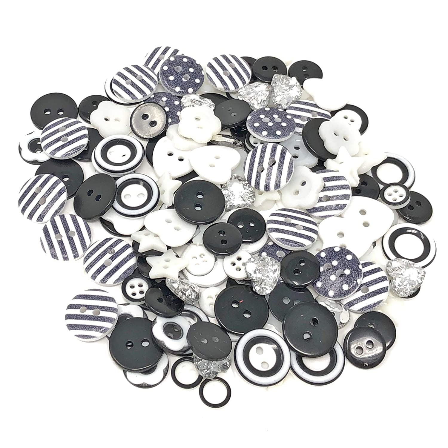 150pcs Black/White Mix Wood Acrylic & Resin Buttons For Cardmaking Embellishments Wedding Touches