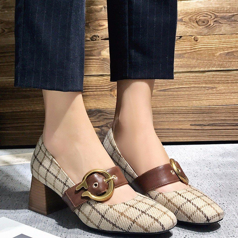 DIDIDD Frühling Einzelne Schuhe, Flache Retro Mary Mary Retro Jane Schuhe mit Hohen Absätzen, Frauen Erste Wort Schnalle Oma Schuhe,Polieren,36 - 48a1c2