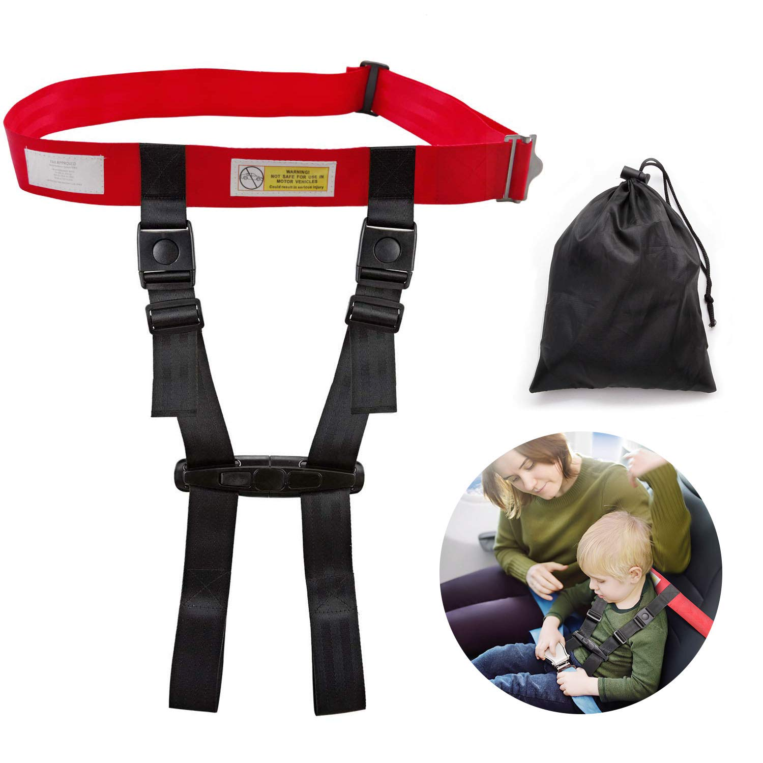 Child Airplane Travel Safety Harness Approved by FAA, Clip Strap Restraint System with Safe Airplane Cares Restraining Fly Travel Plane for Toddler Kids Child Infant