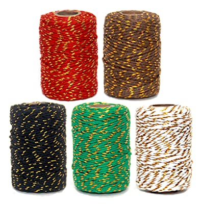 V-best 5 Roll Christmas Twine Cotton String Rope Cord for Gift Wrapping, Arts Crafts, Gardening and Wedding Decoration, 575 Feet (5 Rolls) : Office Products