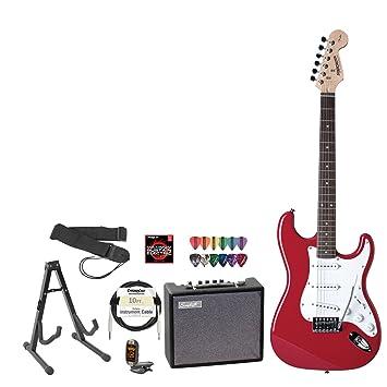 Fender 028 - 0001 - 540-amp-kit - Fender Squier Fiesta Rojo Guitarra Eléctrica con Amplificador, afinador, soporte de cable, correa, cuerdas, ...