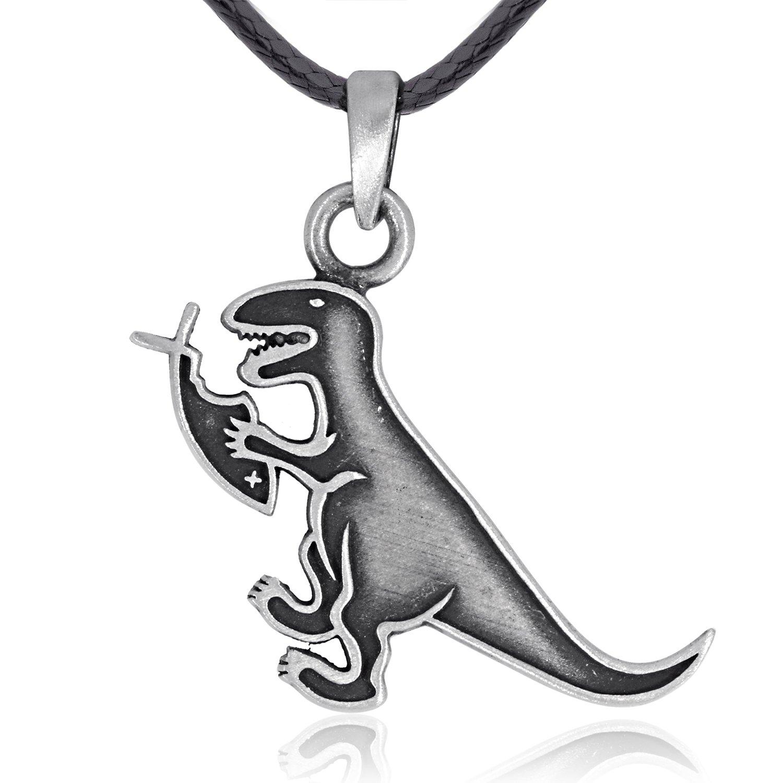 Dan's Jewelers Dinosaur Eating Christian Fish Pendant Necklace, Fine Pewter Jewelry