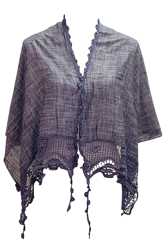 Rosemarie Collections Women's Bohemian Chic Crochet Shawl Navy