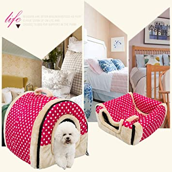 Pet Dog Sleeping Nest con colchoneta plegable Cama para perros Pet Cat Bed House para perros pequeños medianos viajes Pet Supplies , pink dots ...