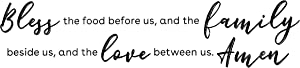 Removable Kitchen Wall Stickers, Bless Food, Family, Love Between Us Decals (24.5 x 9 In)