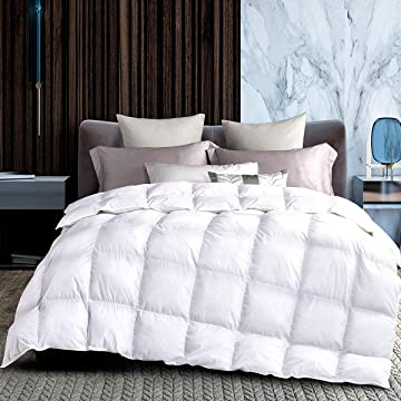 HODOMG All Season White Goose Down Altered Comforter and Duvet Insert - with Corner Tabs - Hypoallergenic - Plushnative Quilt Microfiber Fill - Reversible - Machine Washable - 90x90inches