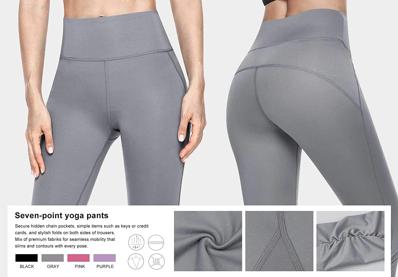 VUTRU Women Yoga Pants High-Waist Tummy Control Capri Leggings w Hidden Pocket