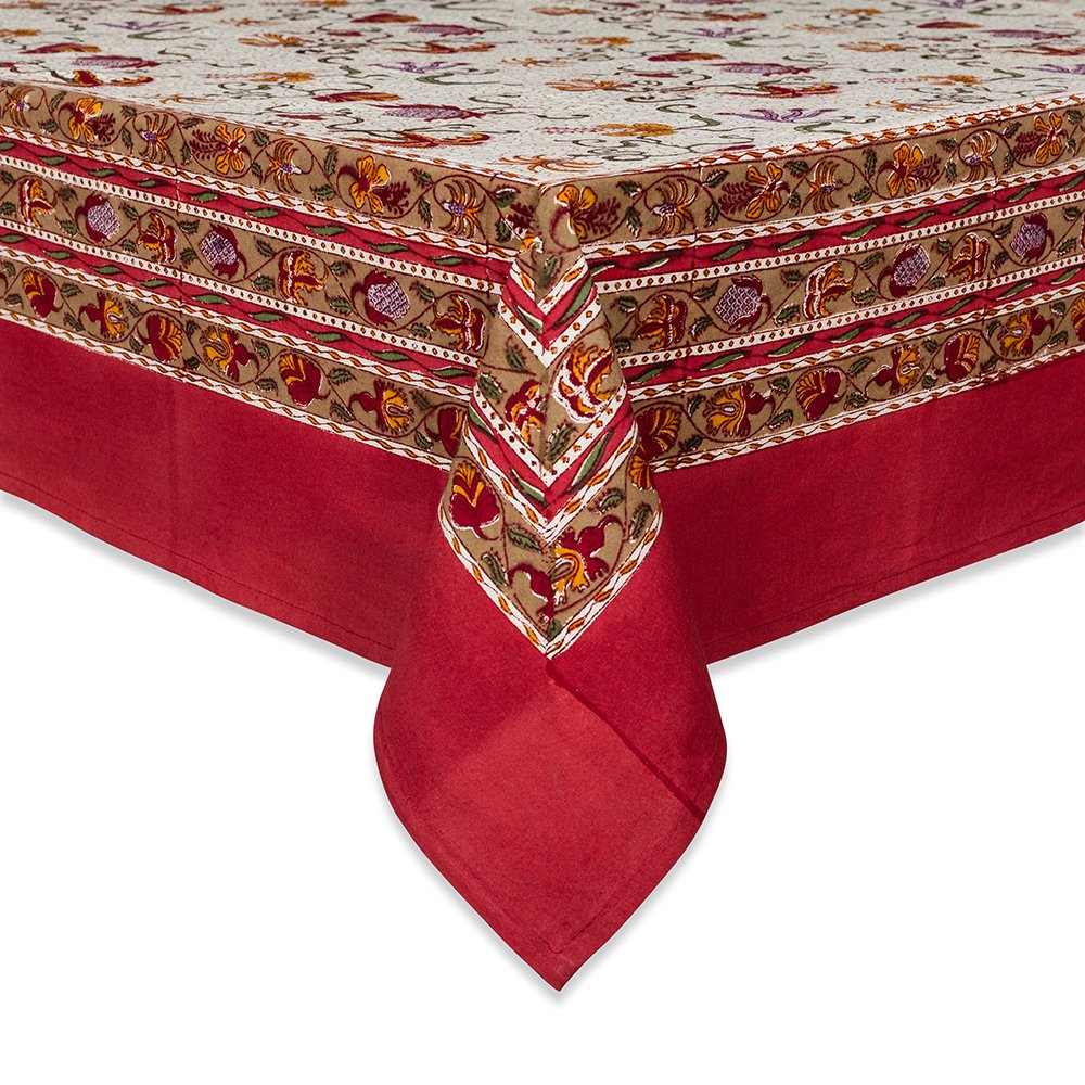 Couleur Nature Fleurs des Indes Tablecloth, 71-inches by 128-inches, Multi Color