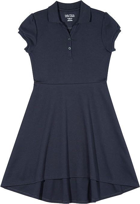 Girls Nautica $34 Navy Cotton Blend Uniform Dress Size 4-16