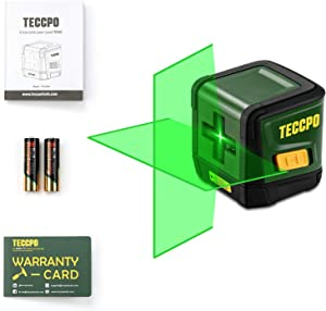 Line Laser Level TECCPO, 50ft Cross Line Laser level, Green Self Leveling Laser, Horizontal/Vertical Mode, Tilt mode,±3mm/10m Leveling Accuracy, 4s Quick Leveling, for Picture Hanging, Home Renovation