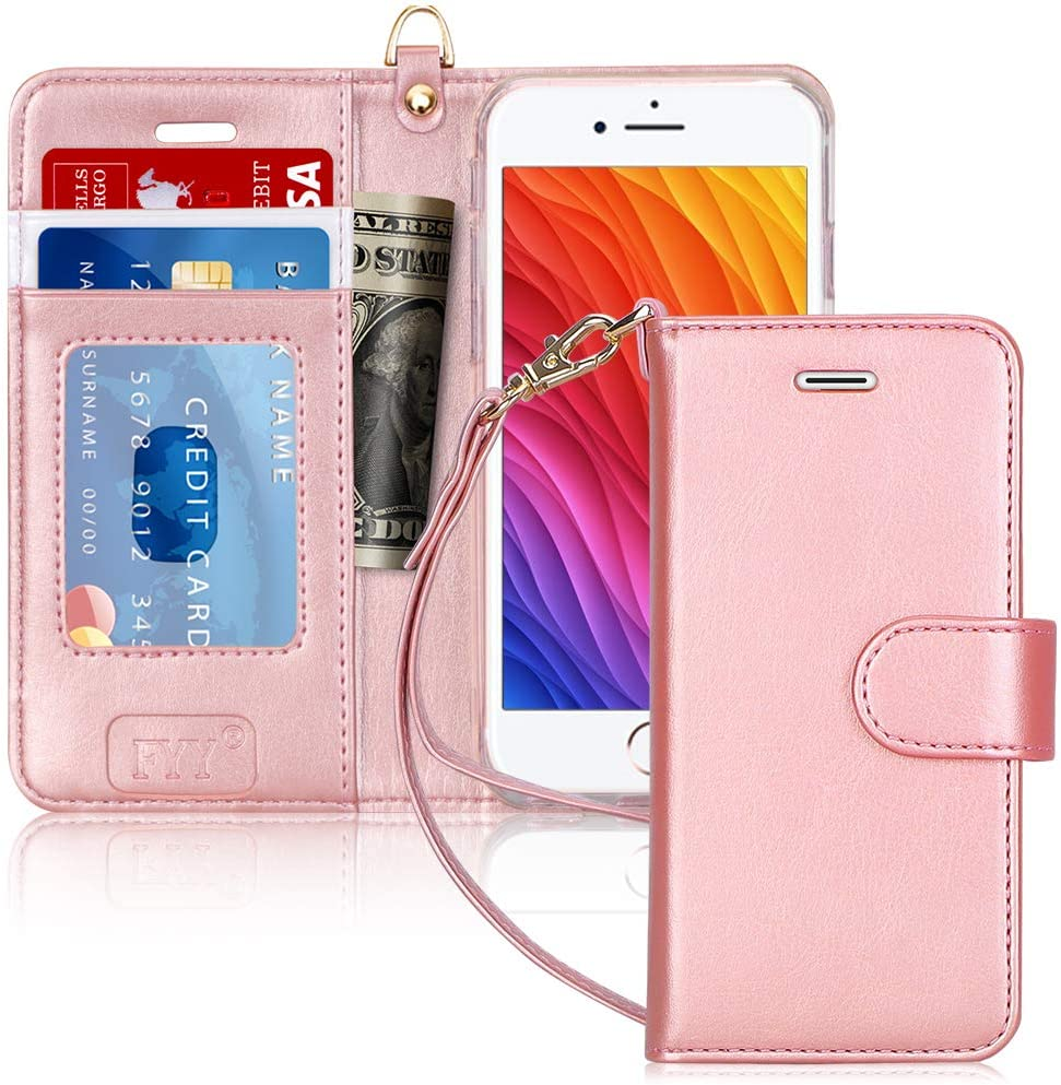 """FYY Case for iPhone 8/iPhone 7/iPhone SE (2nd) 2020 4.7""""[Kickstand Feature] Luxury PU Leather Wallet Case Flip Folio Cover with [Card Slots][Wrist Strap] for iPhone 8/7/SE (2nd) 2020 4.7"""" Rose Gold"""