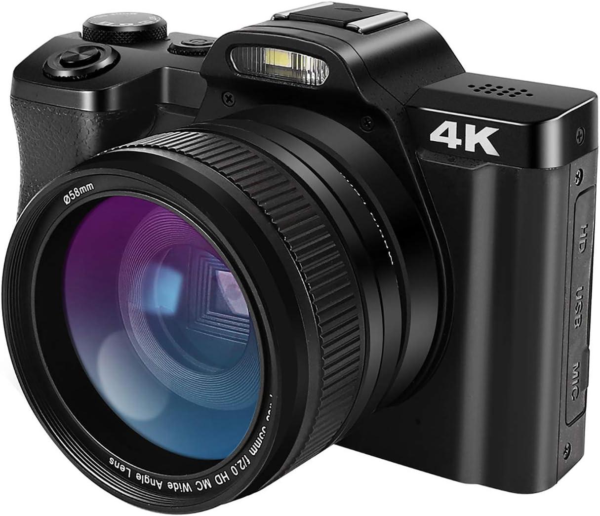 48 MP HD 1080P Videoc/ámara YouTube Vlogging C/ámara con lente gran angular Zoom digital 16X WiFi Detecci/ón de cara t/áctil habilitada 3.5 pulgadas IPS LCD pantalla t/áctil C/ámara digital 4K