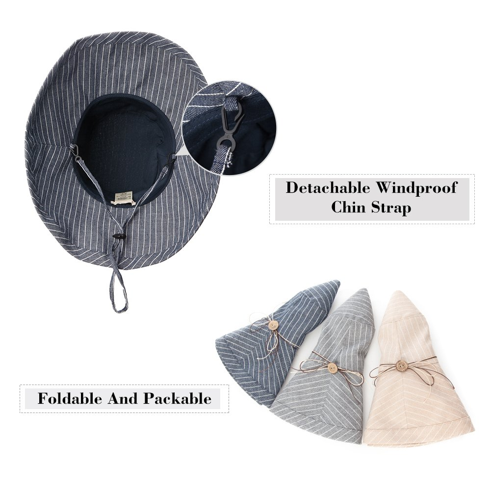 Fancet Foldable Sun Bucket Hat Women Rolled Up Brim Boating Hiking UV Protection Bonnie Gardening Grey by Fancet (Image #6)