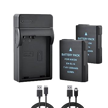 BPS 2X EN-EL14 EN-EL14a Baterías + USB Cargador de Batería para Nikon D3100 D3200 D3300 D5100 D5200 D5300 D5500 D3S, Coolpix P7000 P7100 P7700 P7800 DSLR ...