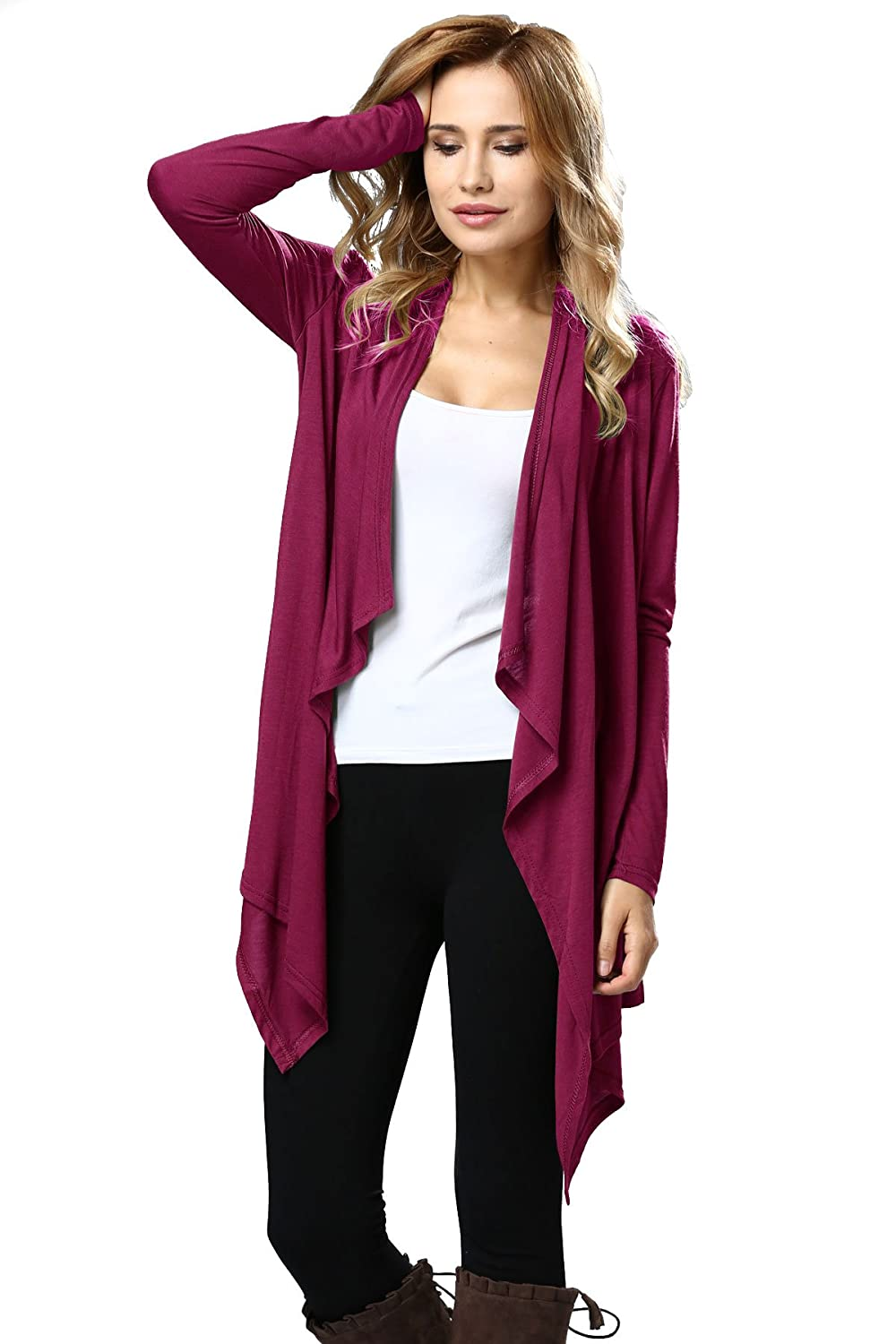 Mifree Women's Solid High Long Sleeve Open Front Cardigans
