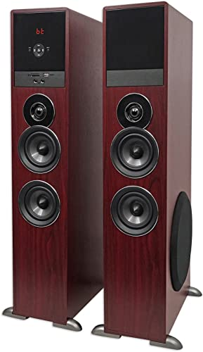 Rockville TM80C Bluetooth Home Theater Tower Speaker System 2 8 Subwoofers
