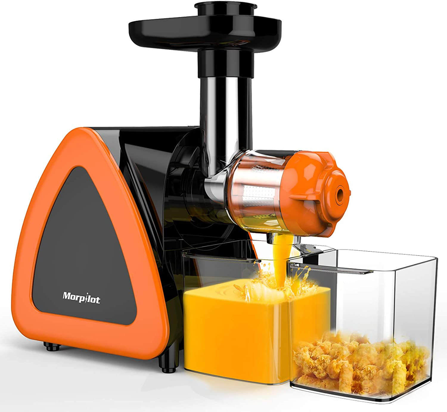 Masticating Juicer, Keenstone Cold Press Slow Juicer with Stainless Steel Filter, 7 Segment Spiral, Reverse Function and Quiet Motor, Orange