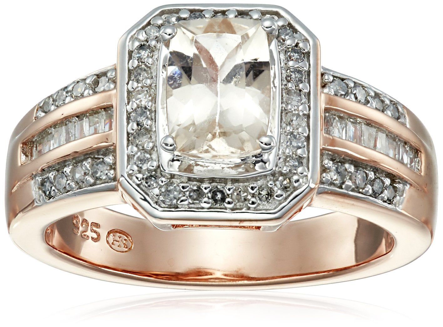 18k Rose Gold Over Sterling Silver Morganite and Diamond Ring (1/3cttw, I-J Color, I2-I3 Clarity), Size 8