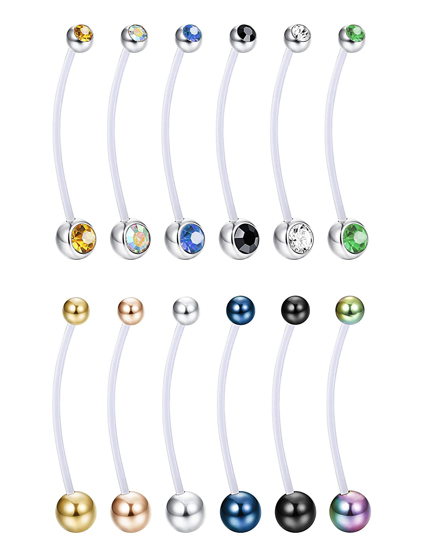 Funrun Jewelry 12pcs 14g Pregnancy Sport Maternity Flexible Bioplast