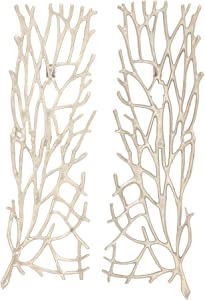"Deco 79 68964 Aluminum Wall Décor (Set of 2), 10"" x 34"", Silver"