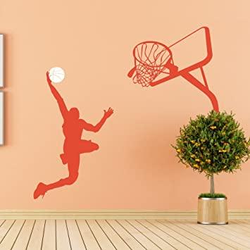 Amazon.com: Vinilo calcomanía de pared, Baloncesto Jugador ...