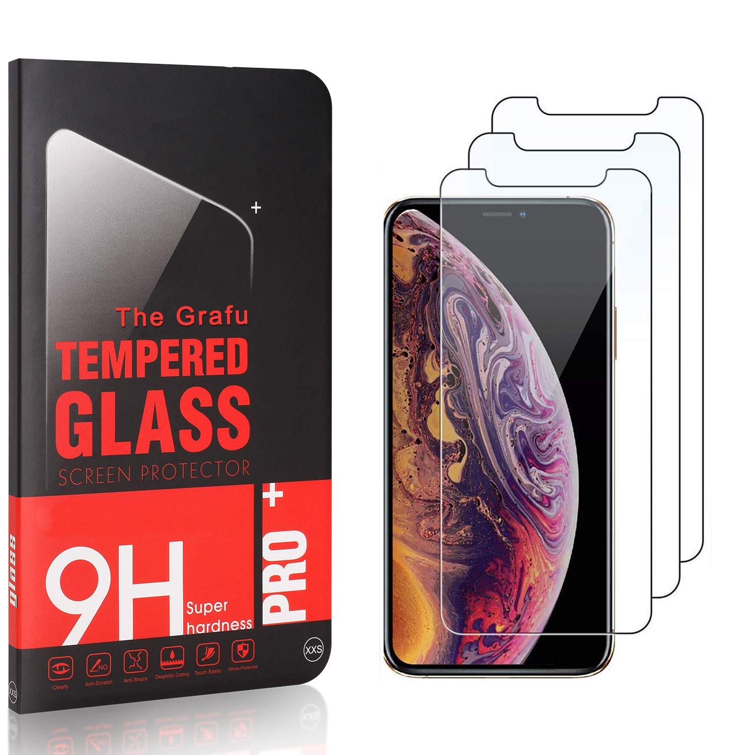 Ultra Clear 9H Tempered Glass Screen Protector Compatible with iPhone 11 Pro Max The Grafu Screen Protector for iPhone 11 Pro Max Easy Installation 4 Pack
