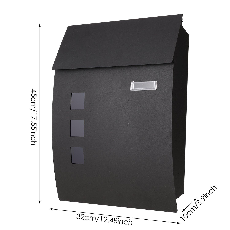 COOCHEER Buz/ón Exterior,45 x 10 x 32 cm Buz/ón de pared de acero inoxidable,Resistente al agua y con cierre,Negro