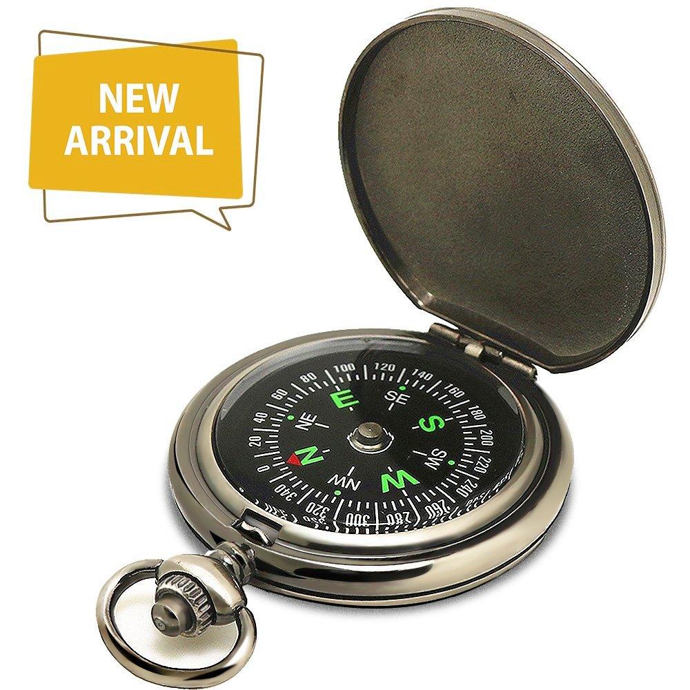 Ding Sheng Yuan Hang Compass Premium Portable Pocket Watch Flip-Open Compass Camping Hiking Compass Outdoor Navigation Tools