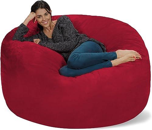 Chill Sack Bean Bag Chair Giant 5 Memory Foam Furniture Bean Bag – Big Sofa with Soft Micro Fiber Cover – Cinnabar
