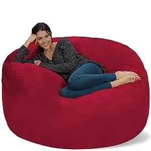 Chill Sack Bean Bag Chair: Giant 5' Memory Foam Furniture Bean Bag - Big Sofa with Soft Micro Fiber Cover - Cinnabar
