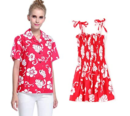 588eef9d7378a Correspondant Mère Fille Hawaiian Luau Outfit Lady Chemise Fille Robe  Élastique Rouge Hibiscus S-2