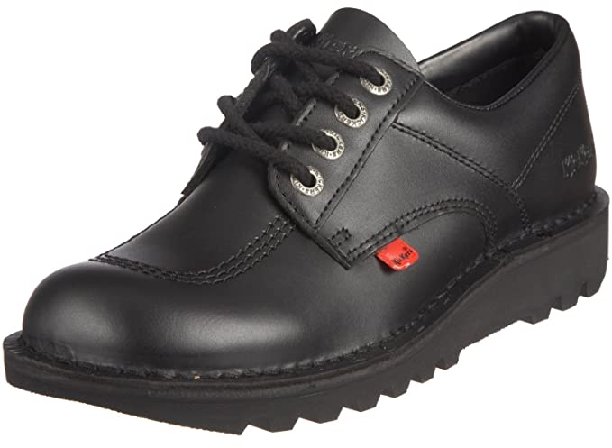 1901be6de587 Kickers Mens Black Leather Kick Lo Lace Up Round Toe Casual Shoes Size 42